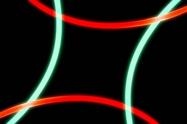 Luci rosse e verdi illuminate della curva su fondo nero