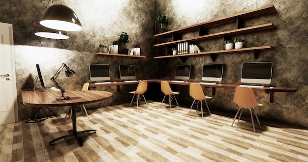 Lucido grigio del muro di cemento di interior design di stile del sottotetto dello studio dell'ufficio sulle mattonelle di legno