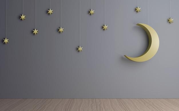 Luna e stelle decorative nella stanza buia.