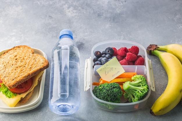 Lunchbox con la bottiglia di broccoli delle carote delle bacche del panino di acqua su gray