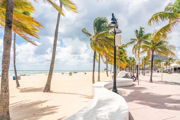 Lungomare spiaggia con palme in una giornata di sole a fort lauderdale