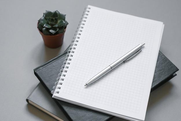 Luogo di lavoro elegante. quaderni e diari su un desktop grigio con una penna, succulenta. area di lavoro per un impiegato o un libero professionista, blogger