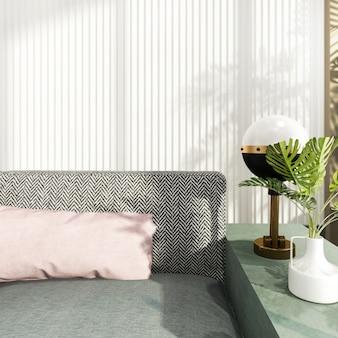 Lusso della rappresentazione 3d e salone moderno con il sofà del tessuto