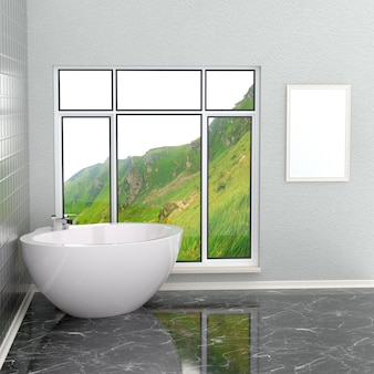 Lussuoso bagno moderno bianco con cornice vuota