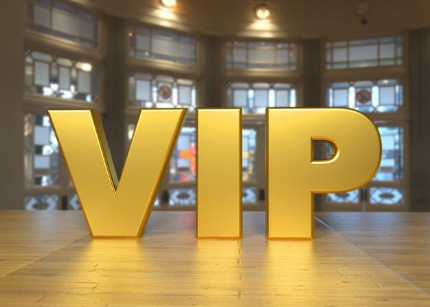 Lussuoso testo vip dorato su un tavolo ed elegante soggiorno sullo sfondo