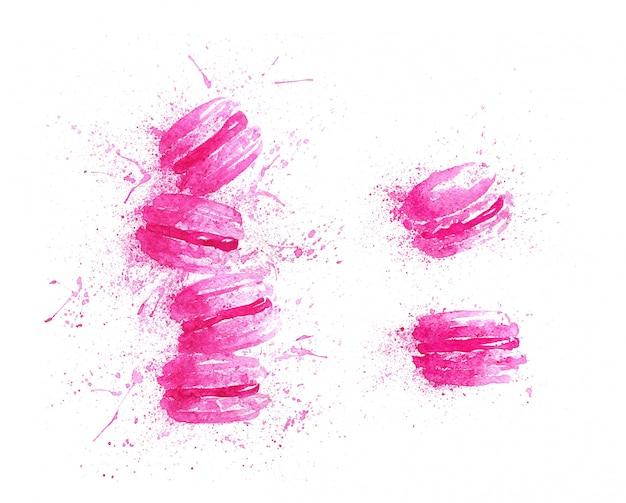 Macarons rosa dell'acquerello con spruzzi
