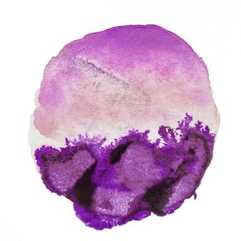Macchia viola dell'acquerello isolata su fondo bianco