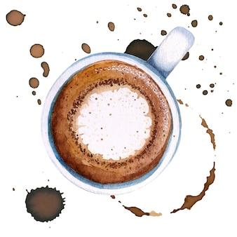 Macchiato della tazza di caffè dell'acquerello, vista superiore.