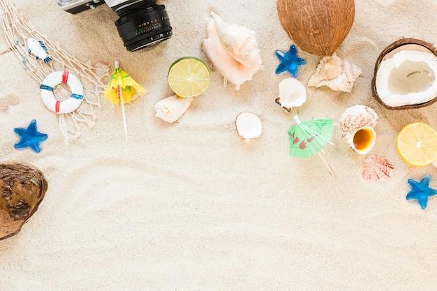 Macchina fotografica con frutti esotici e conchiglie di mare