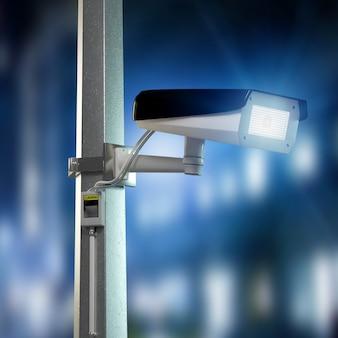 Macchina fotografica del cctv di sicurezza della via che filma una città di notte - rappresentazione 3d
