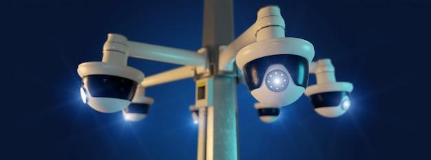 Macchina fotografica del cctv di sicurezza della via isolata su- rappresentazione 3d