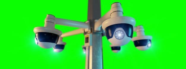 Macchina fotografica del cctv di sicurezza della via isolata su uno schermo verde ing