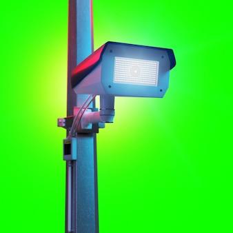 Macchina fotografica del cctv di sicurezza della via isolata su uno schermo verde - rappresentazione 3d