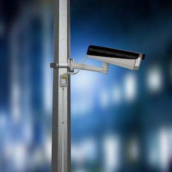 Macchina fotografica del cctv di sicurezza stradale che filma una città di notte