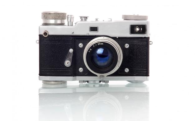 Macchina fotografica della foto in stile retrò isolata on white