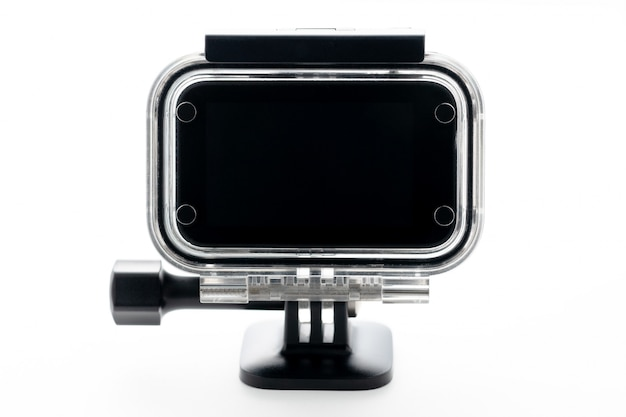 Macchina fotografica estrema di azione a aqua-box impermeabile isolato su uno sfondo bianco.