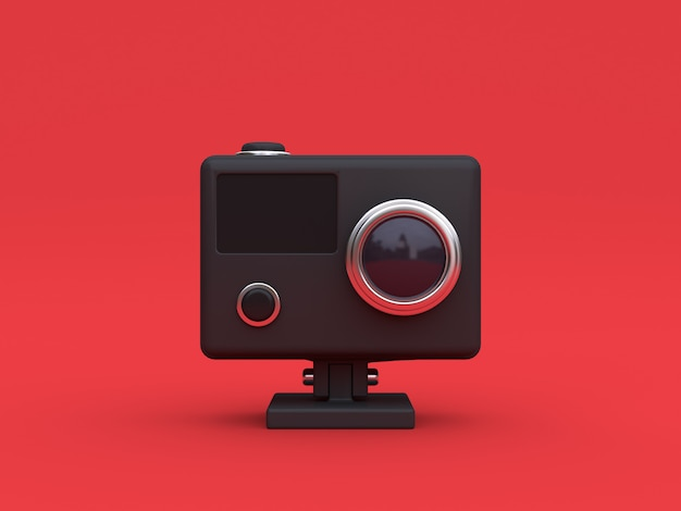 Macchina fotografica nera di azione 3d