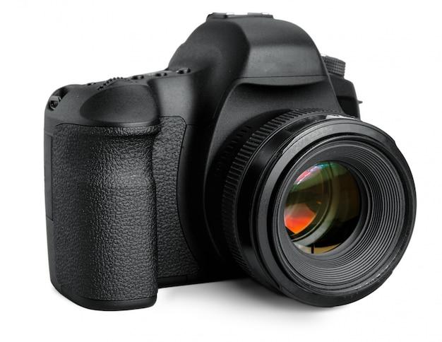 Macchina fotografica nera di dslr isolata su bianco