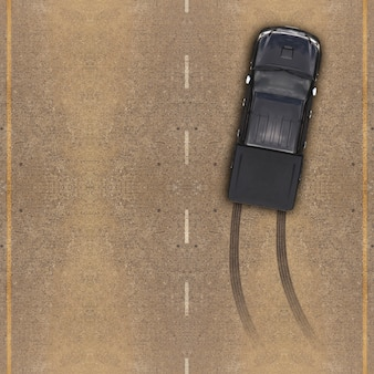 Macchina sopra la strada, tracce di pneumatici su strada