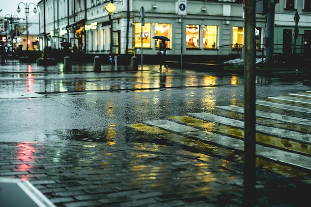 Macro colpo del ciottolo bagnato del pavimento della via della città durante la pioggia in europa
