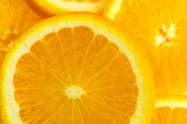 Macro della frutta arancione della fetta di struttura