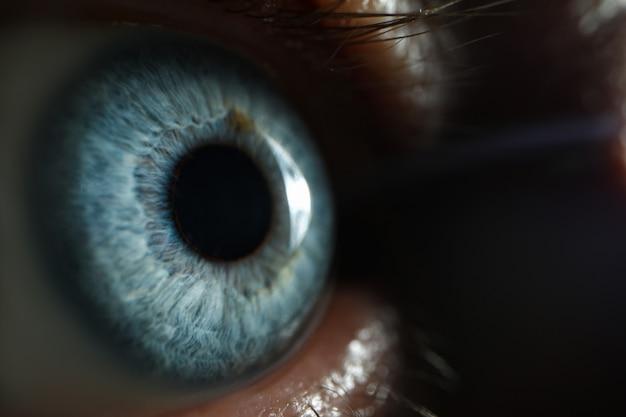 Macro eccellente del primo piano maschio dell'occhio azzurro
