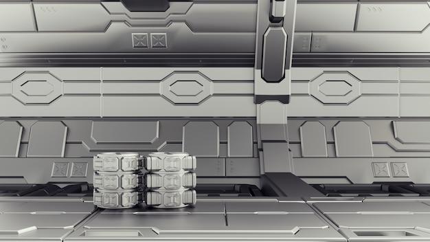 Magazzino di fantascienza dove sono immagazzinati i contenitori. laboratorio su un'astronave.