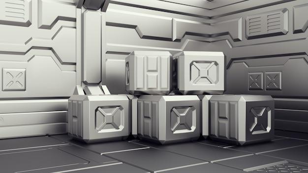 Magazzino di fantascienza dove sono immagazzinati i contenitori. magazzino di fantascienza dove sono immagazzinati i contenitori. armeria su un'astronave. rendering 3d