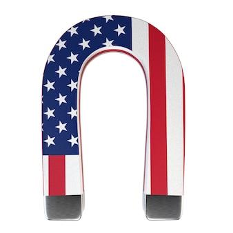 Magnete a ferro di cavallo e bandiera americana isolato su sfondo bianco.