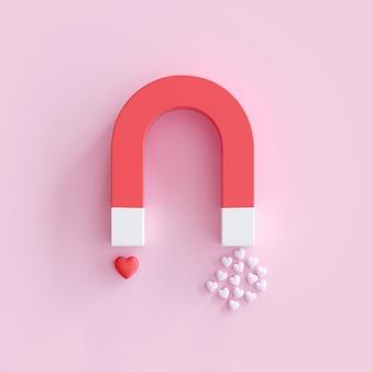 Magnete a forma di cuore, concetto minimal di idea di san valentino. rendering 3d