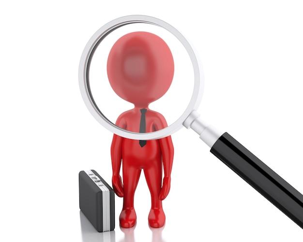 Magnifier 3d che cerca la gente o impiegato.