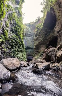 Majestic cascata che scorre sulla scogliera rocciosa nella foresta pluviale tropicale