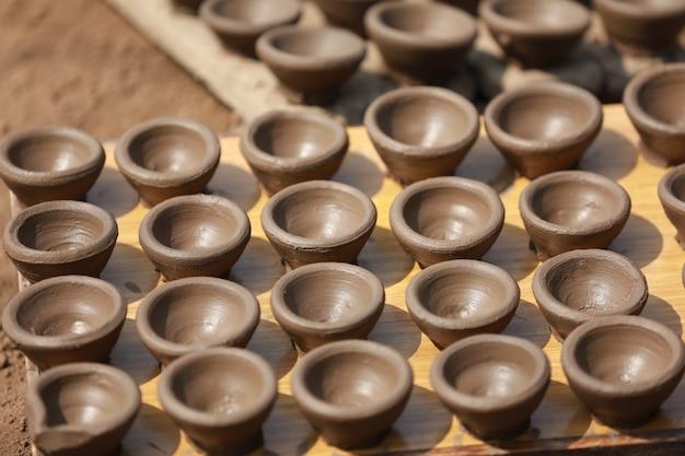 Making clay lamp, diwali festival