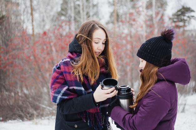 Mamma e figlia che camminano nella foresta invernale, parco, passeggiate ed escursioni, abiti invernali, ragazza adolescente