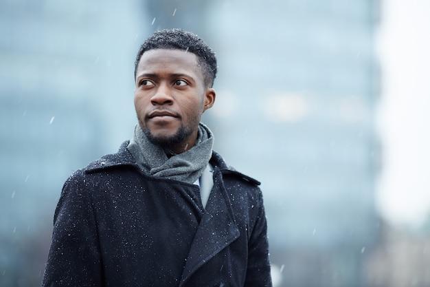 Man in snowfall