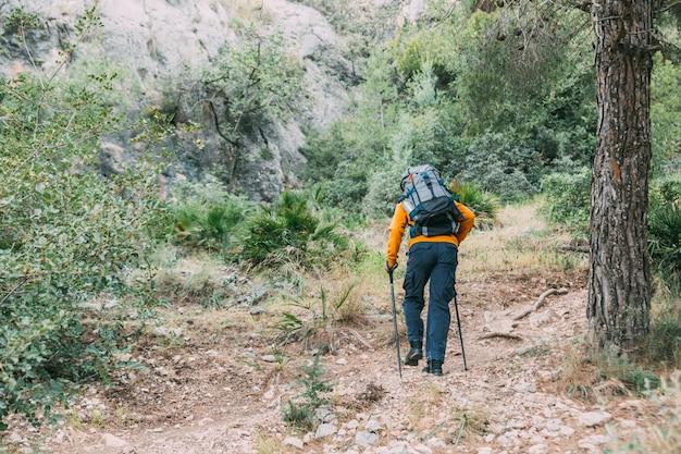 Man trekking in montagna