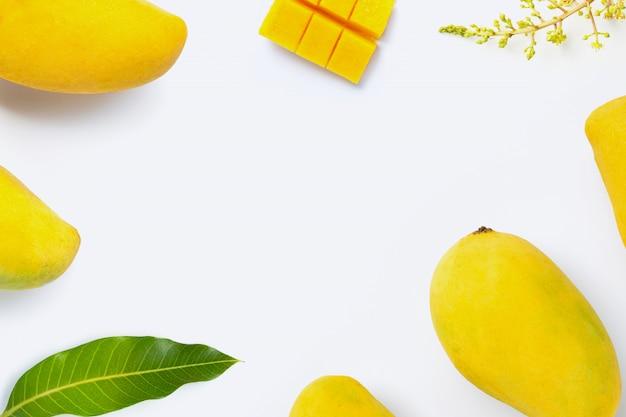 Mango della frutta tropicale su fondo bianco