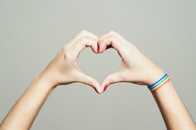 Mani che formano a forma di cuore