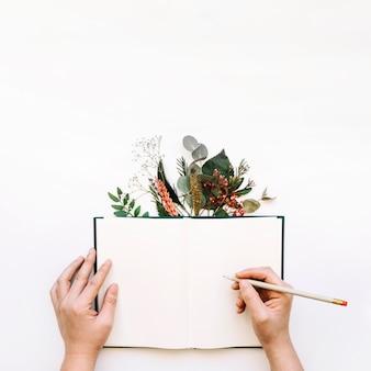 Mani che scrivono in libro aperto e foglie