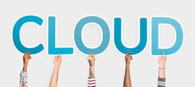 Mani che sostengono le lettere blu che formano la nuvola di parole