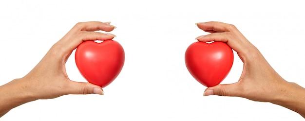 Mani che tengono a forma di cuore rosso
