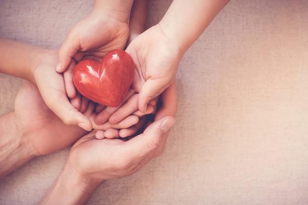 Mani che tengono cuore rosso, assicurazione sanitaria, concetto di donazione