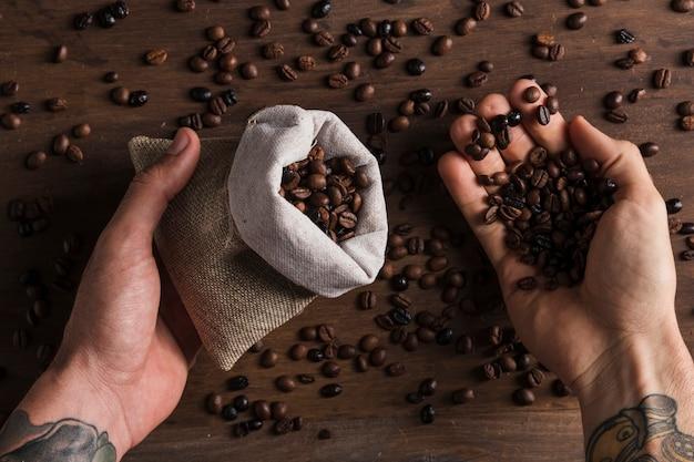 Mani che tengono il sacco e chicchi di caffè