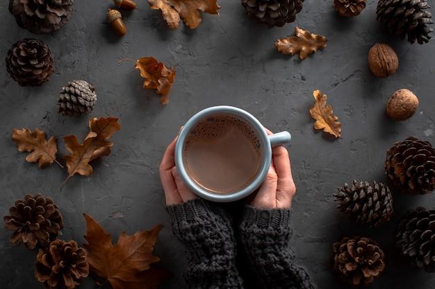 Mani che tengono tazza di cioccolato hoc