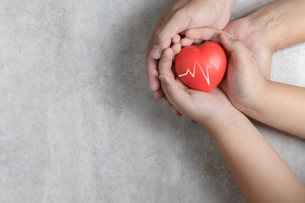 Mani del bambino e del padre che tengono cuore rosso su marmo