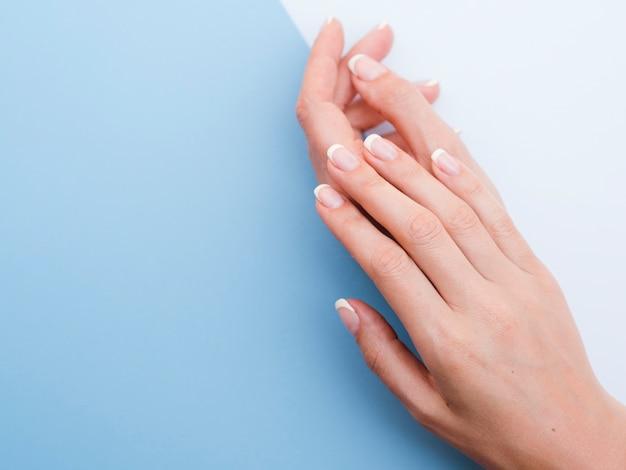 Mani delicate della donna con lo spazio della copia blu