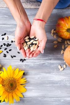Mani di una ragazza che tiene i semi di girasole e una zucca su un fondo di legno grigio