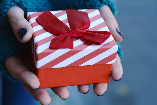 Mani femminili che tengono un contenitore di regalo, presente.