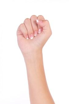 Mani vuote donna isolato su sfondo bianco