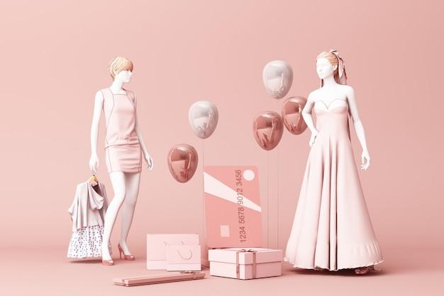 Manichino circondato dal sacchetto della spesa e dal contenitore di regalo con la carta di credito sulla rappresentazione rosa del contesto 3d